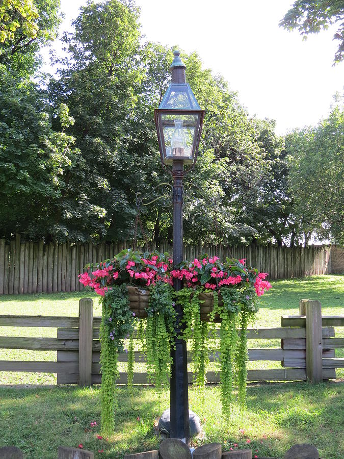 Old Fashion Lamp Post With Hanging Flowers Photograph By