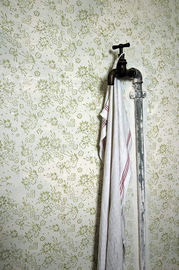Nostalgia Photograph - Old Fashioned Faucet And Flowery Wallpaper by Matthias Hauser