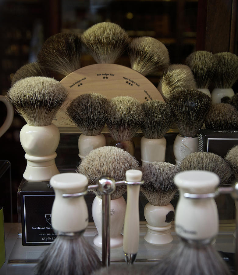 Old Fashioned Mens Shaving Brushes Photograph by Gregory Adams