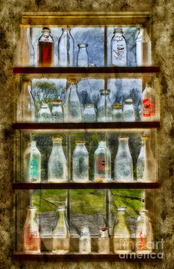 Milk Photograph - Old Fashioned Milk Bottles by Susan Candelario