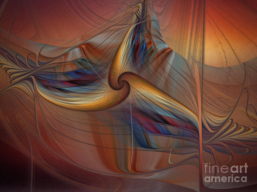 Abstract Digital Art - Old-fashionened Swing Boat In The Afterglow by Karin Kuhlmann