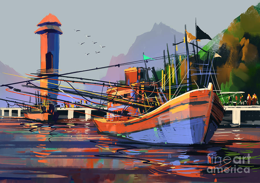 Color Digital Art - Old Fishing Boat In The Harbor,digital by Tithi Luadthong