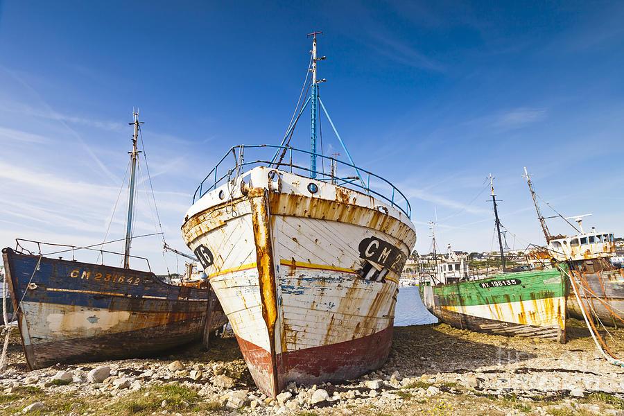 Camaret Sur Mer Photograph - Old Fishing Boats Camaret-sur-mer Brittany France by Colin and Linda McKie