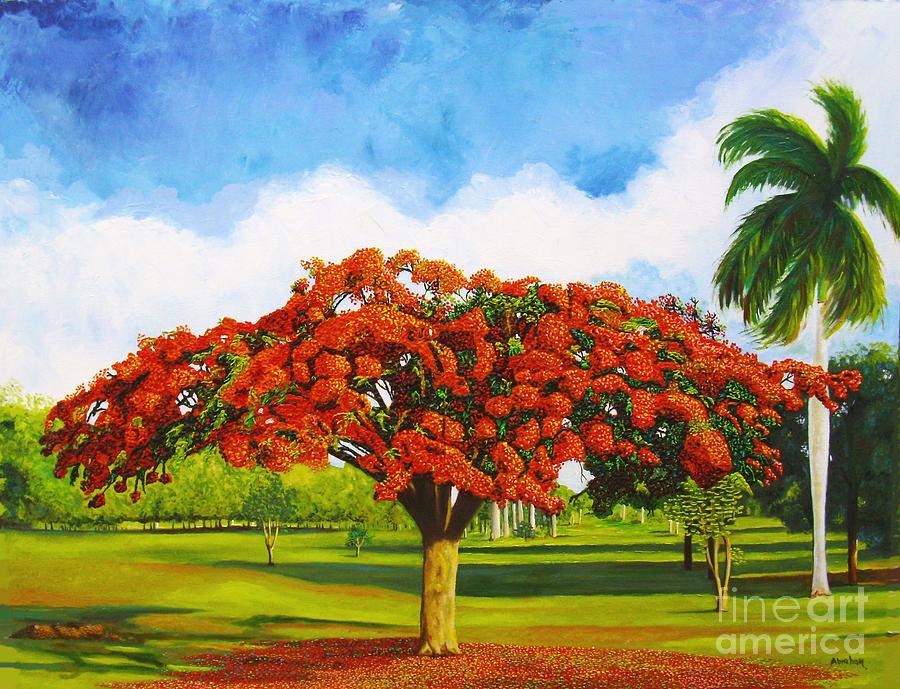 Landscape Painting - Old Flamboyan by Jose Manuel Abraham