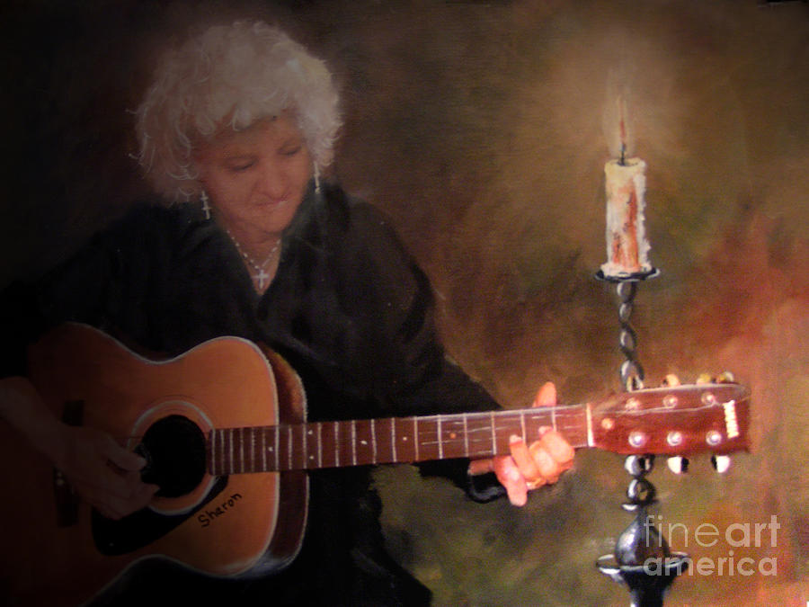 Guitar Painting - Old Flames by Sharon Burger