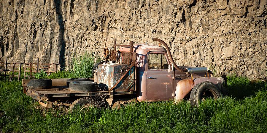 Abandoned Photograph - Old Flatbed International Truck by Steve G Bisig