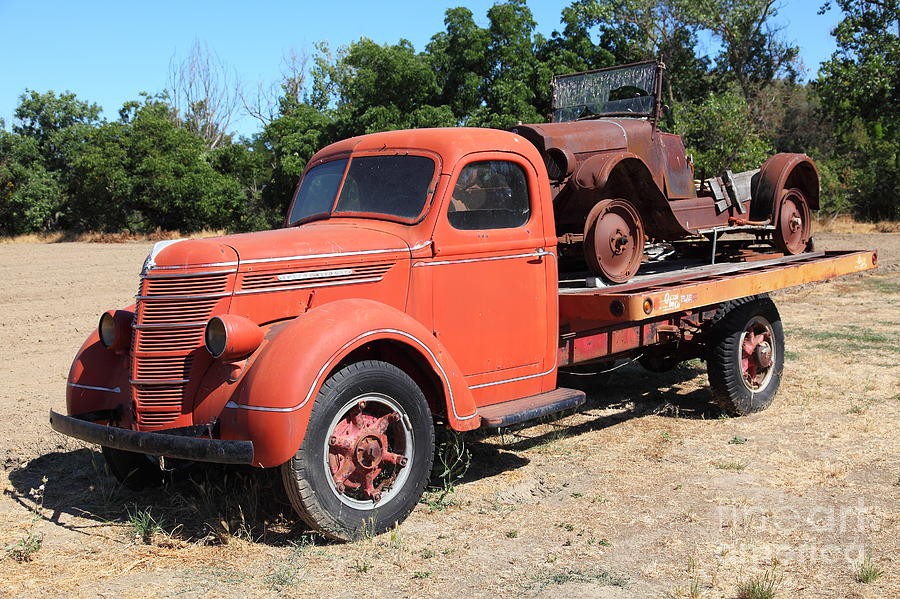Old Flatbed Truck Towing The Old Jalopy 5d23968 Photograph by ...