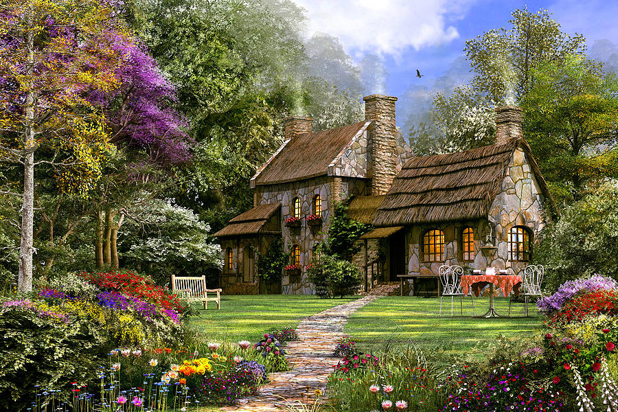 Old Flint Cottage Digital Art By Dominic Davison