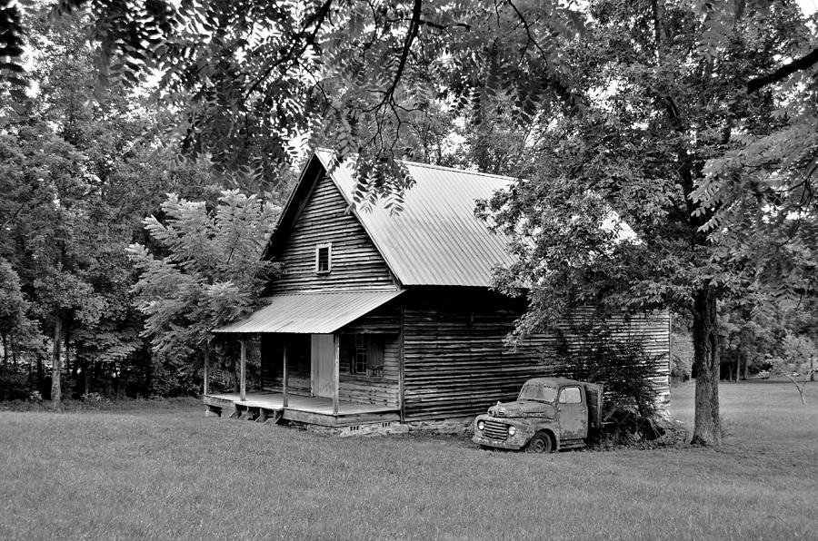 Cabin Digital Art - Old Ford And Cabin by Bob Jackson