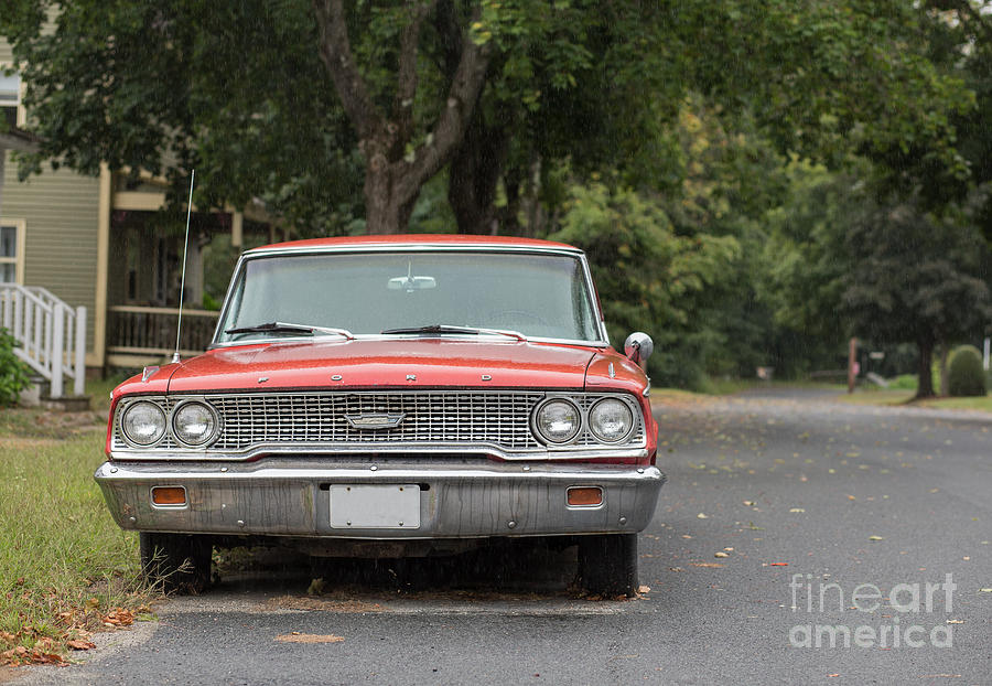 Greenfield Photograph - Old Ford Galaxy In The Rain by Edward Fielding