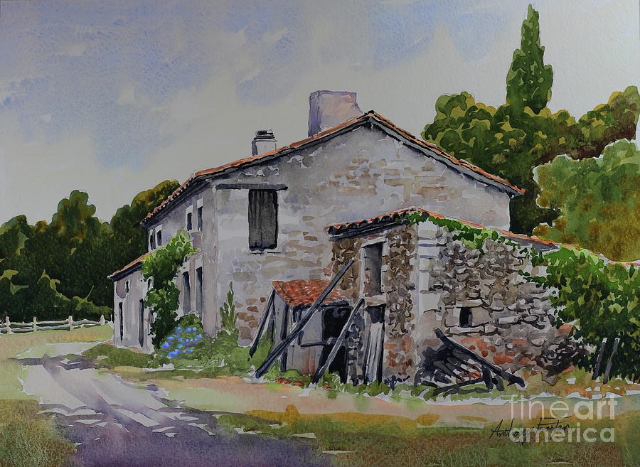 Old French Farmhouse Painting by Anthony Forster