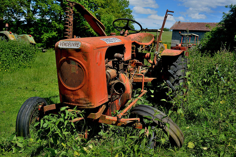Old Tractor Photograph - old french tractor Vendeuvre by Patrick Pestre