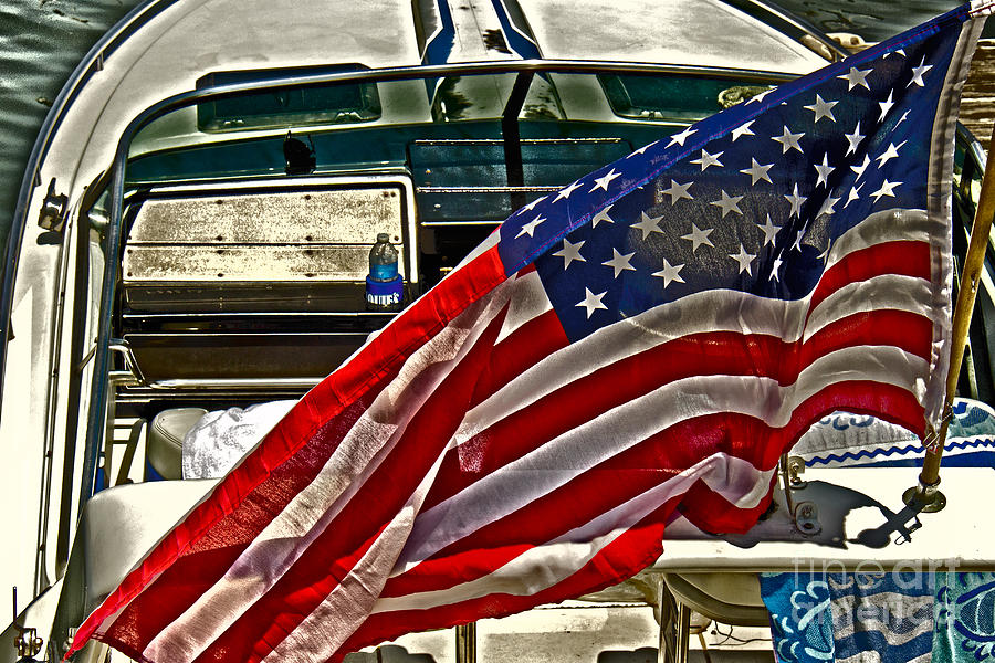 Sky Photograph - Old Glory And The Bay by Tom Gari Gallery-Three-Photography