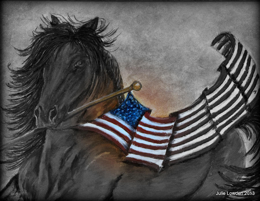 Horse Pastel - Old Glory Black And White by Julie Lowden