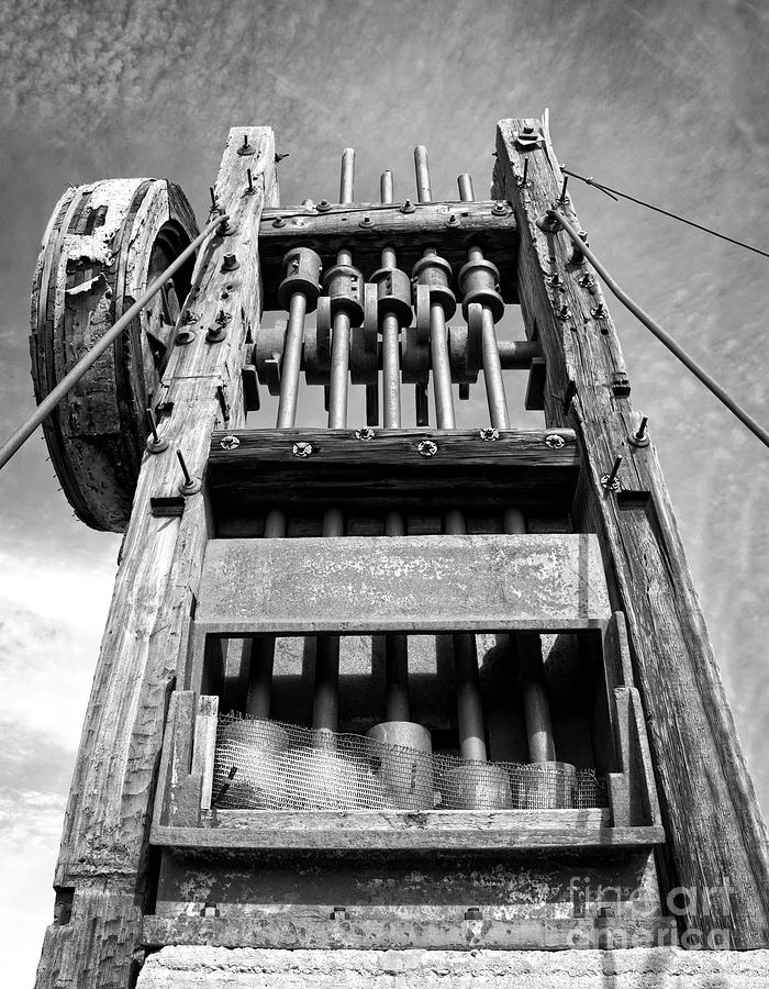 Blackandwhite Photograph - Old Gold Mine Technology In Black And White by Lee Craig