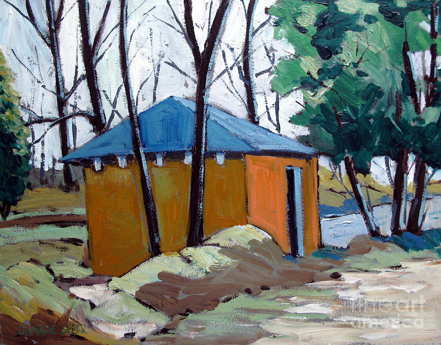 Golf Course Painting - Old Golf Course Shed No.5 by Charlie Spear