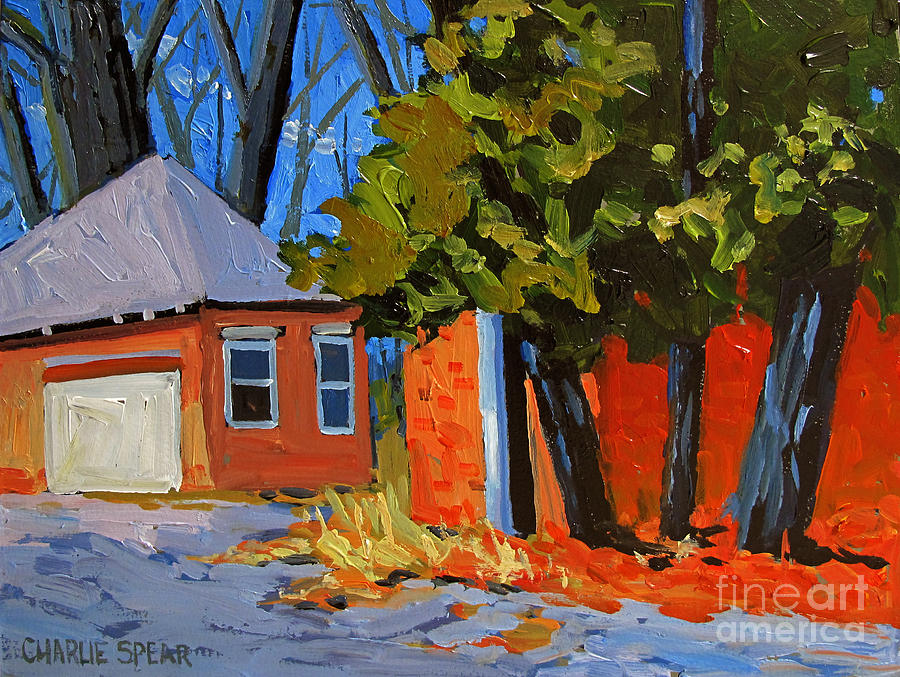 Golf Painting - Old Golf Course Sheds by Charlie Spear