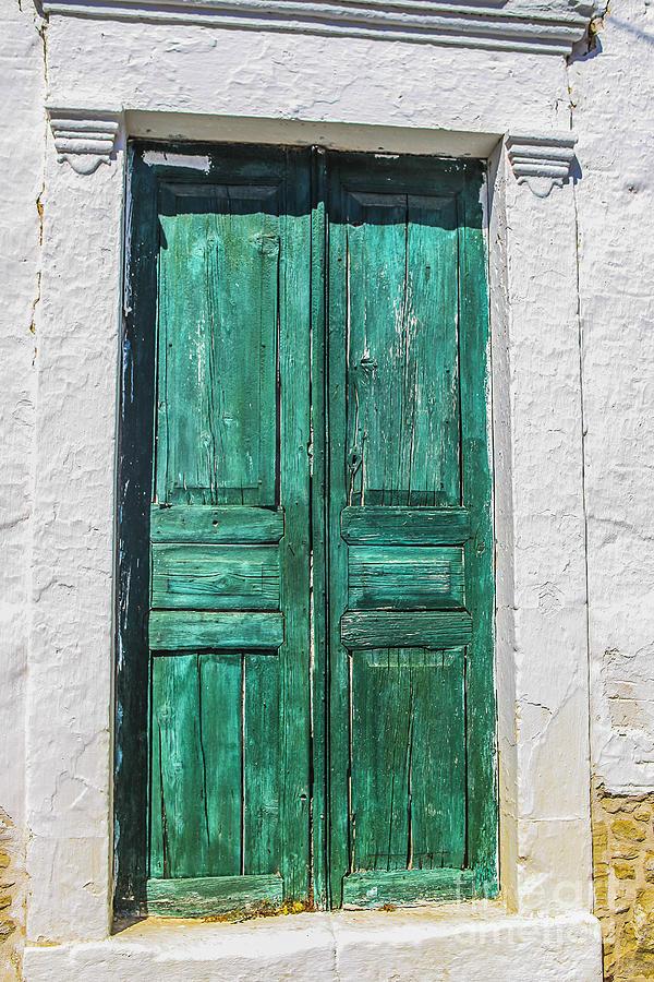 Wood Photograph - Old Green Door by Patricia Hofmeester