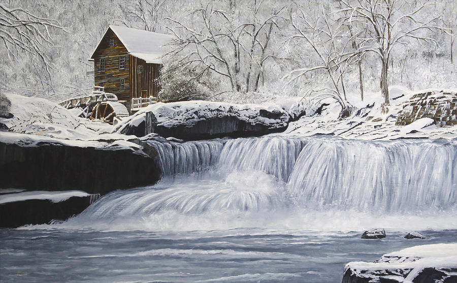 Winter Painting - Old Grist Mill by Johanna Lerwick