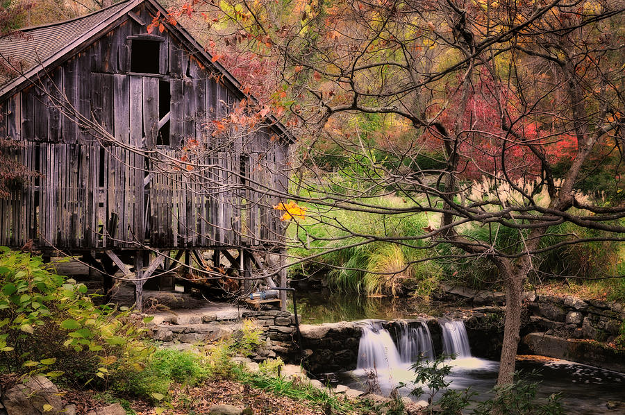 Grist Mill Photograph - Old Grist Mill - Kent Connecticut by Thomas Schoeller