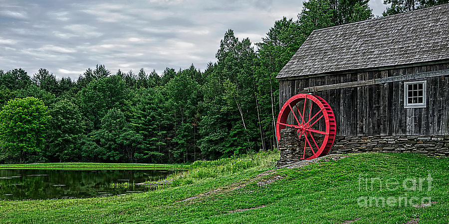 Mill Photograph - Old Grist Mill Vermont Red Water Wheel by Edward Fielding