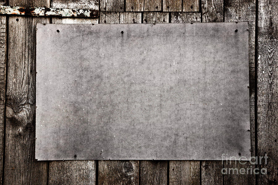 Grunge Photograph - Old Grunge Plywood Board On A Wooden Wall by Michal Bednarek
