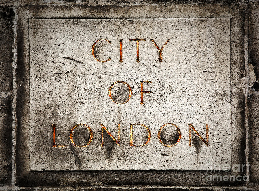 London Photograph - Old Grunge Stone Board With City Of London Text by Michal Bednarek