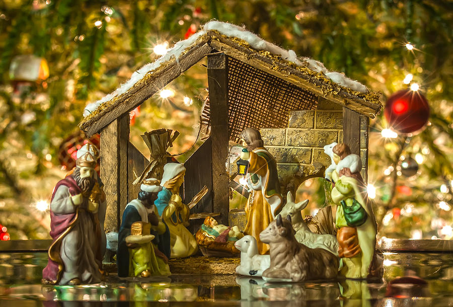christmas photograph old handmade nativity scene in front of a christmas tree by alex grichenko