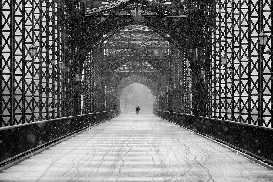 Bridge Photograph - Old Harburg Bridge In Snow by Alexander Sch?nberg