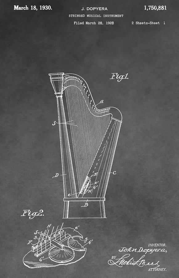 Old Harp Patent Drawing