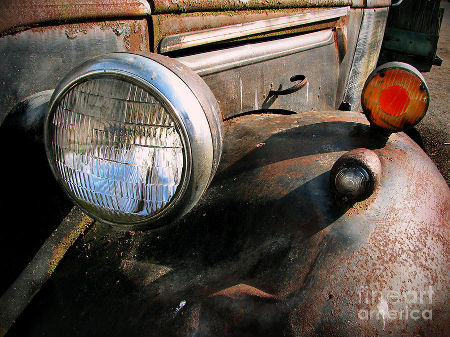 Old Trucks Photograph - Old Headlights by Colleen Kammerer