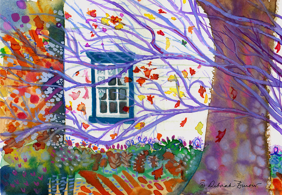 Leaves Painting - Old House In The Fall by Deborah Burow