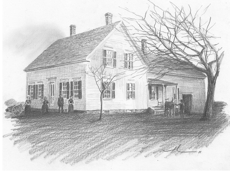 Old House Pencil Portrait Drawing by Mike Theuer