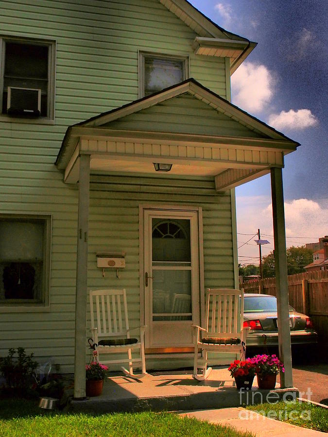 Old Houses - New Jersey - In The Oranges - Green House With Flower Pots And Rocking Chairs - Color Photograph