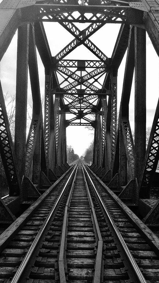 Huron River Photograph - Old Huron River Rxr Bridge Black And White  by Daniel Thompson