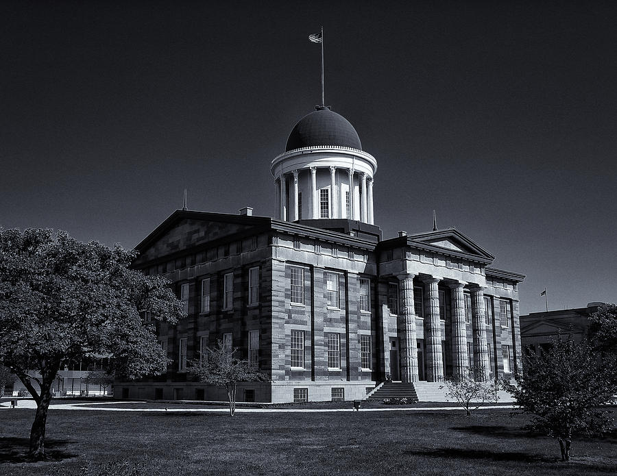 Old Illinois Capitol Building - Bw Photograph