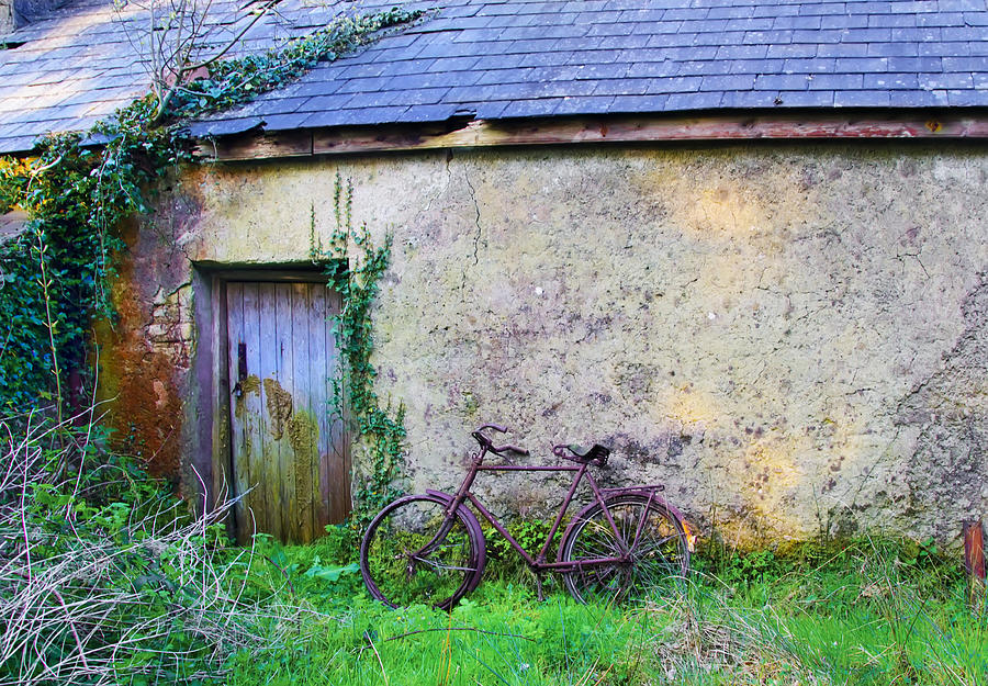 Old Photograph - Old Irish Cottage With Bike By The Door by Bill Cannon & Old Irish Cottage With Bike By The Door Photograph by Bill Cannon