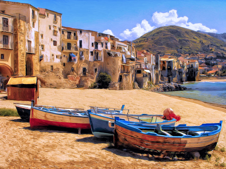 Old Italian Fishing Boats Painting By Dominic Piperata