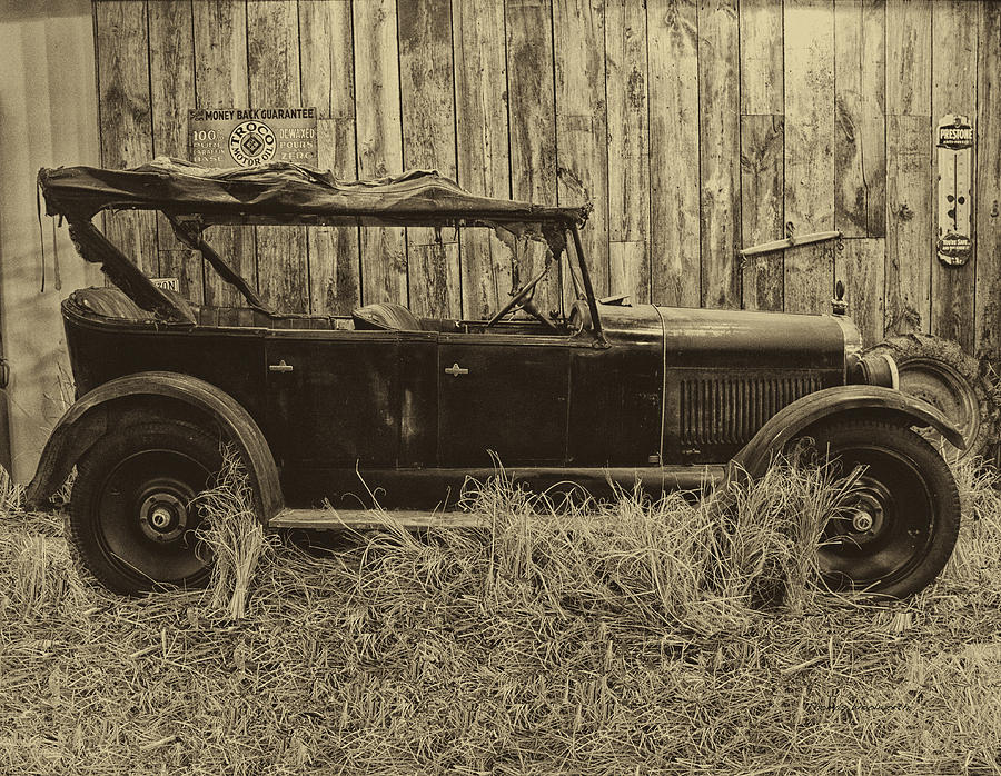 Antique Photograph - Old Jalopy Behind The Barn by Thomas Woolworth