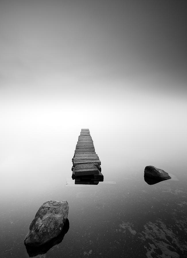 Loch Ard Photograph - Old Jetty In The Mist by Grant Glendinning
