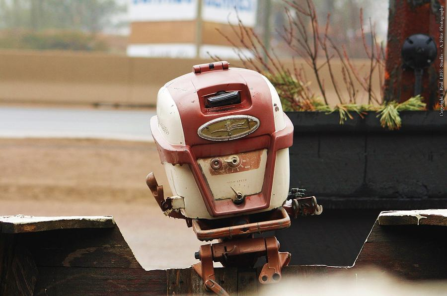Boats Photograph - Old Johnson Outboard by Al Fritz