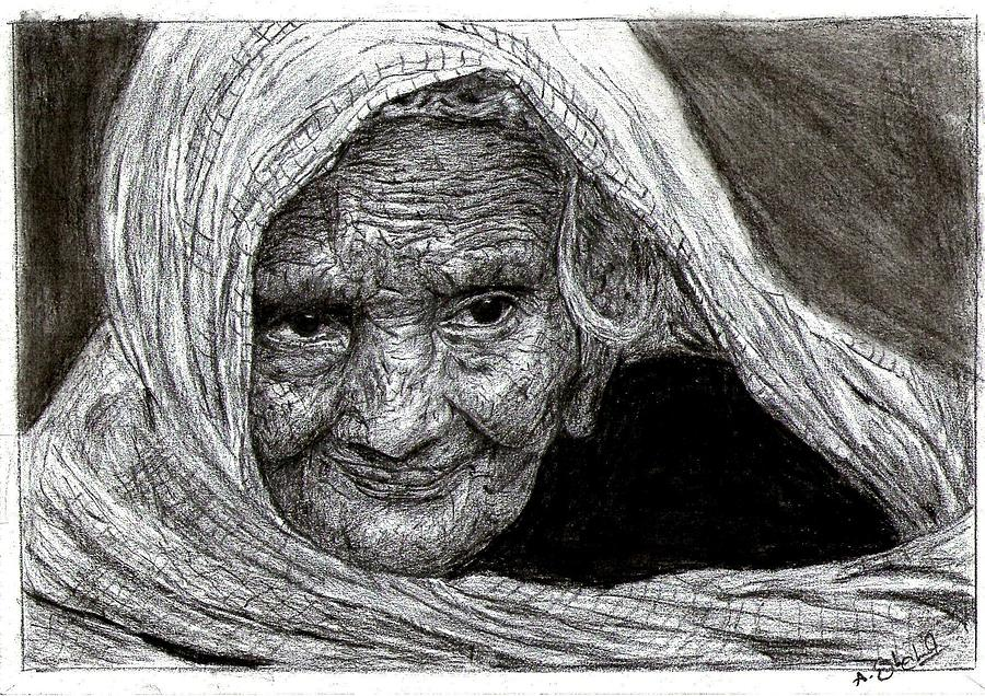 Image result for indian old lady sketch