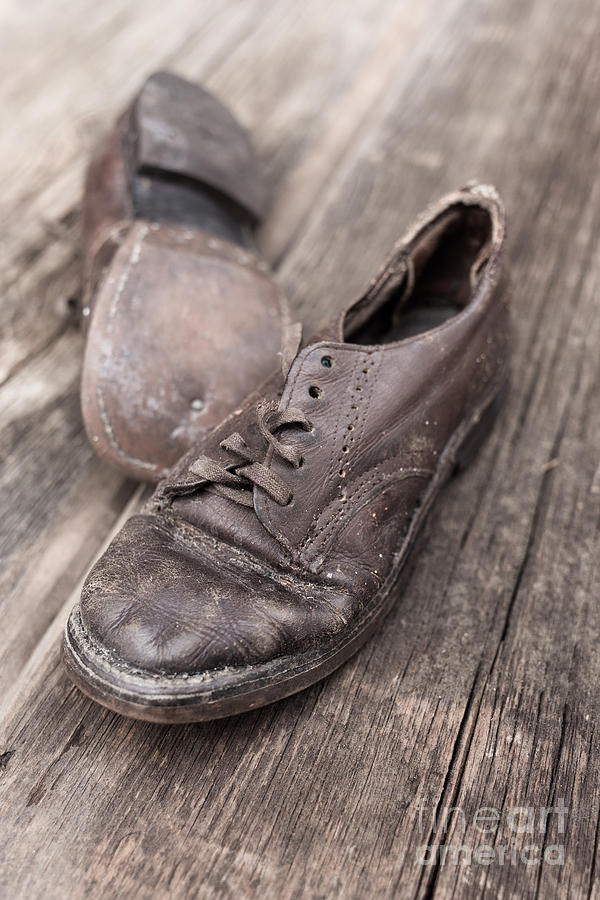 Child Photograph - Old Leather Shoes On Wooden Floor by Edward Fielding