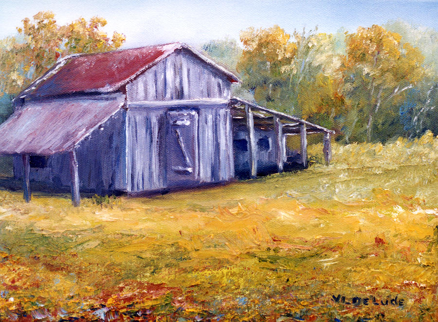 Old Louisiana Barn In Pasture Landscape Painting By Lenora