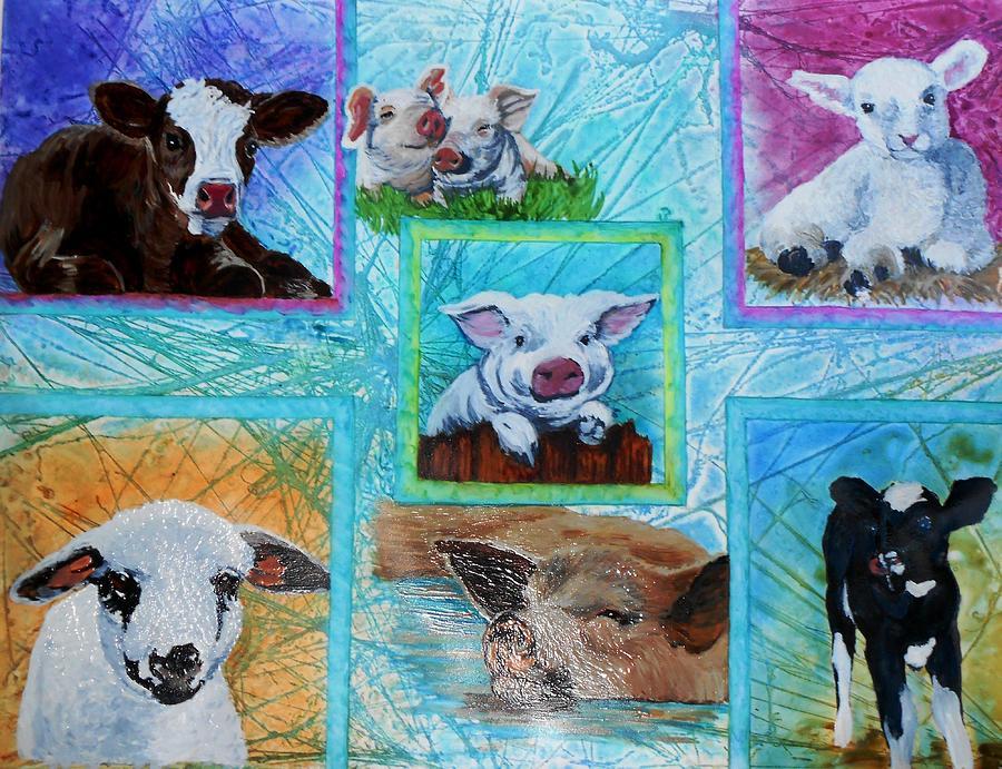 Cows Painting - Old Macdonalds Nursery by Liz Borkhuis