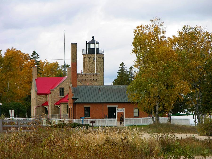 Lighthouse Photograph - Old Mackinac Point Lighthouse In October by Keith Stokes