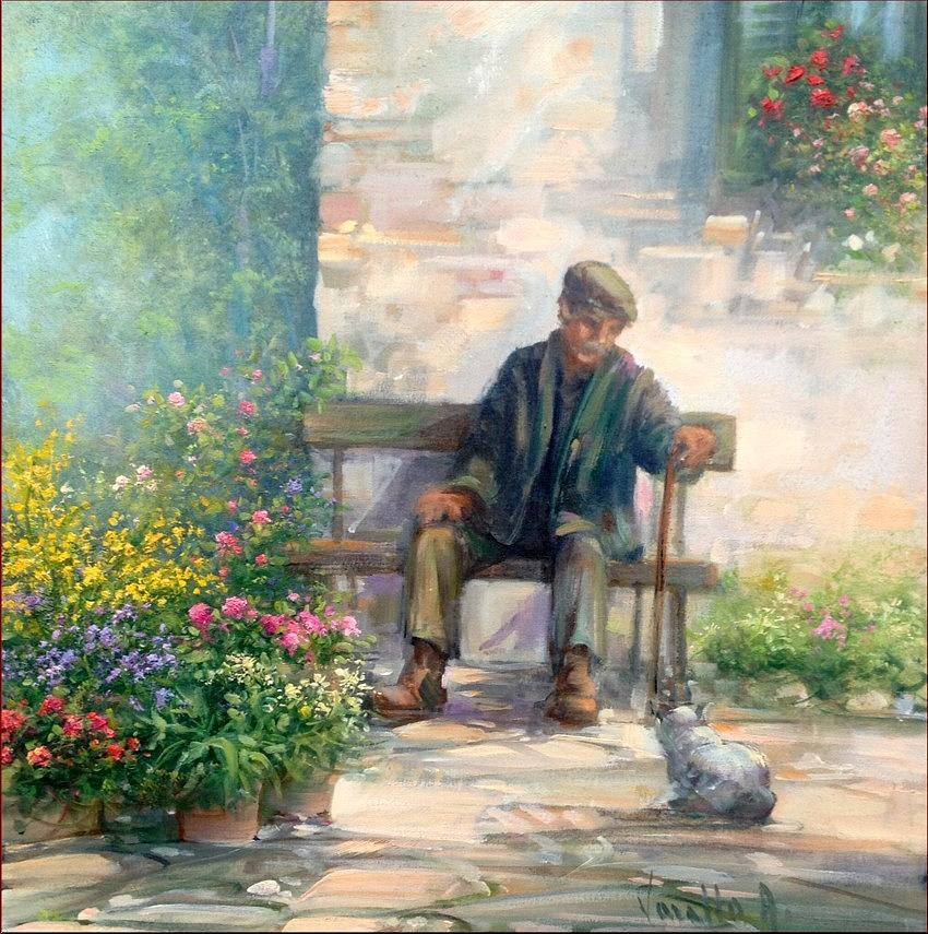 Old Man And Cat Painting By Antonietta Varallo
