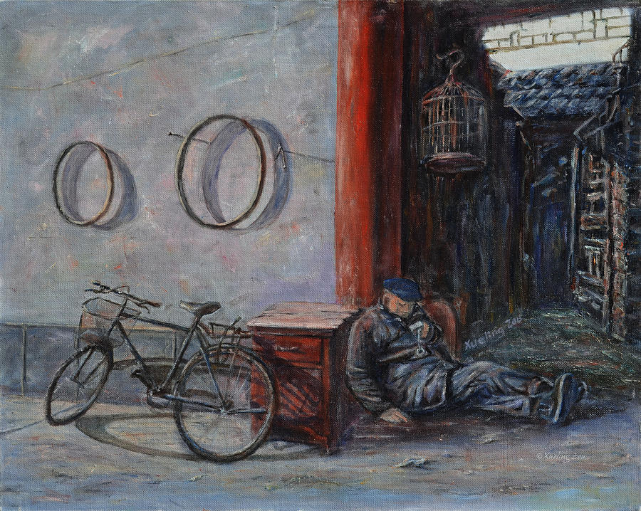 Ancient Painting - Old Man And His Bike by Xueling Zou