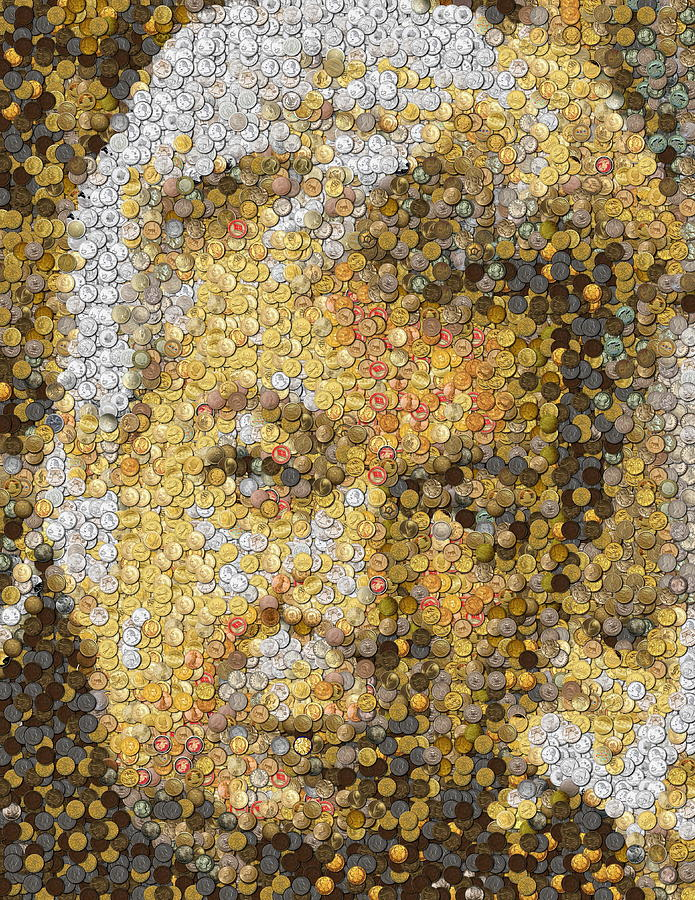 Old Man Coin Mosaic by Paul Van Scott