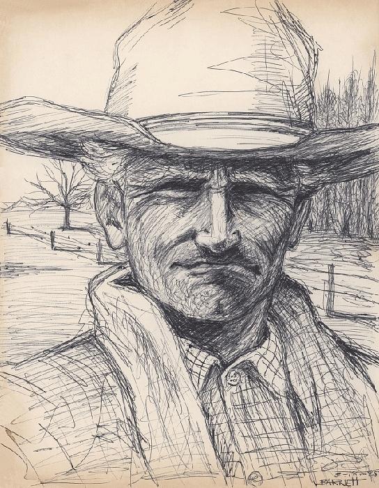 Old Man Drawing - Old Man Farmer by Mark Barnett